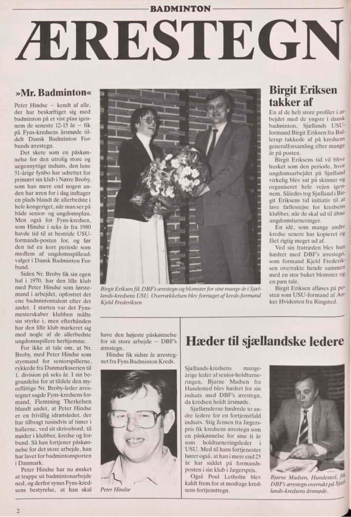 Ærestegn Fra Badmintonbladet 1988 04