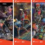 De fem billeder med badmintonmotiverne i fuld størrelse.
